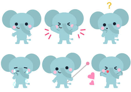 Elephant's facial expression and gesture illustration set  イラスト・ベクター素材