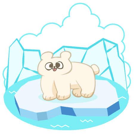 Hand-painted polar bear on ice