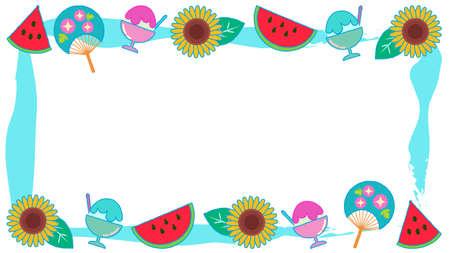 Frame illustration around summer material