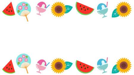 Summer and horizontal frame illustrations