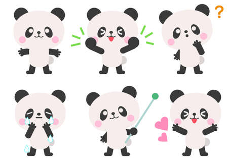 Panda's facial expression and gesture illustration set