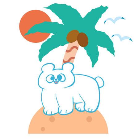 Polar bear illustration material on the island