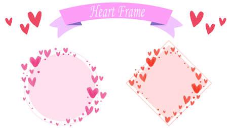 Heart pattern frame illustration set