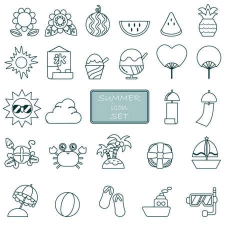 Summer icon line drawing illustration set  イラスト・ベクター素材