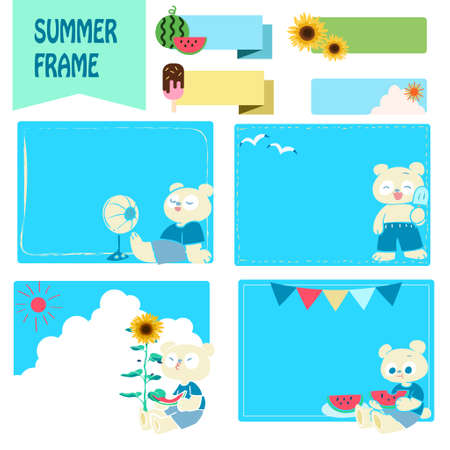 Summer frame set with hand-drawn illustrations of polar bears