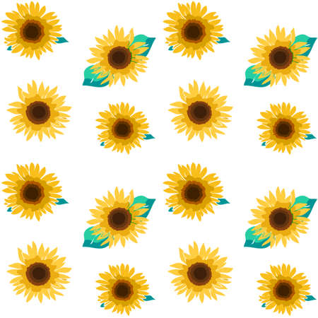 The total pattern material of the sunflower flower. Seamless pattern