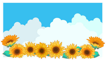 Sunflower and summer sky and background illustration material