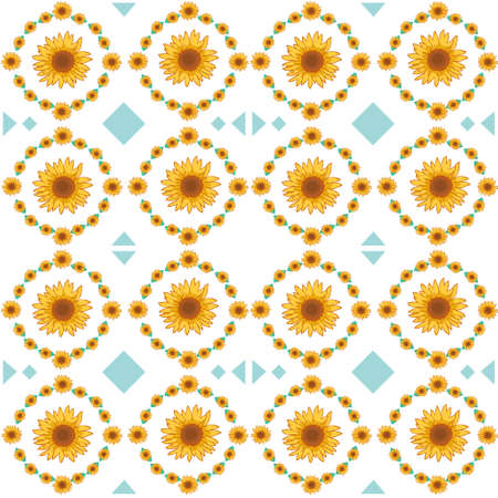 Seamless illustration material with sunflower pattern 写真素材