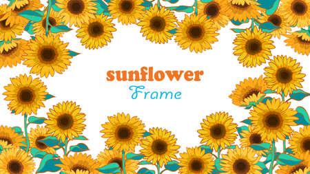 One-sided frame hand-drawn illustration of sunflower  イラスト・ベクター素材