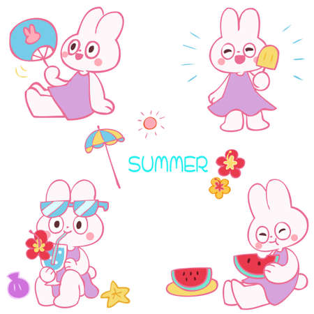 Hand-drawn illustrations of rabbits and summer images  イラスト・ベクター素材