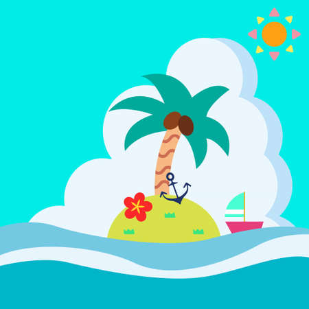 Small island and palm tree background illustration floating in the sea  イラスト・ベクター素材