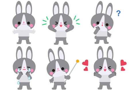 Rabbit character gesture and facial expression set