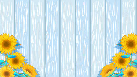 Background illustration of sunflower and wood grain tone