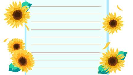 Sunflower's letter paper illustration material