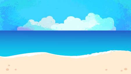 Summer sky, sandy beach and sea background illustration  イラスト・ベクター素材