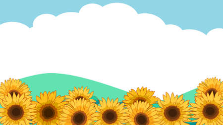 Sunflower and sky background illustration material