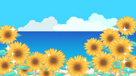 Sunflower and sea background illustration material
