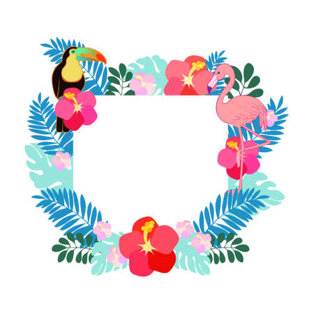Tropical frame illustration of flamingo and toucan  イラスト・ベクター素材