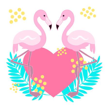 Flamingo Tropical Design Illustration Material  イラスト・ベクター素材