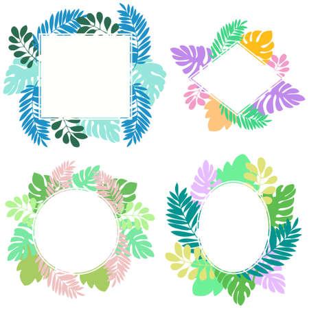 Tropical leaf frame illustration set