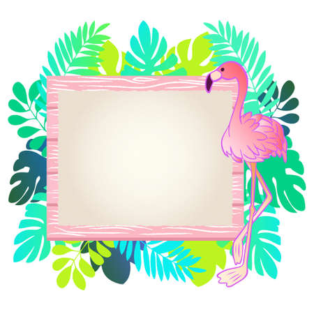Flamingo and wood grain message board illustration frame material