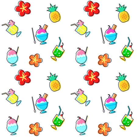 Summer illustration total pattern, background material
