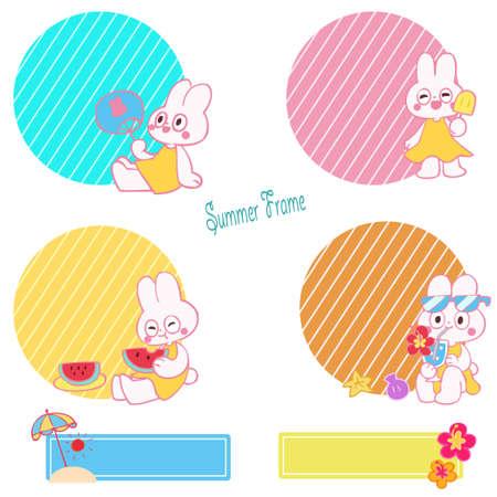 Rabbit Character Round Frame Set