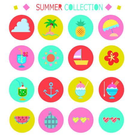 Summer icon round illustration set  イラスト・ベクター素材