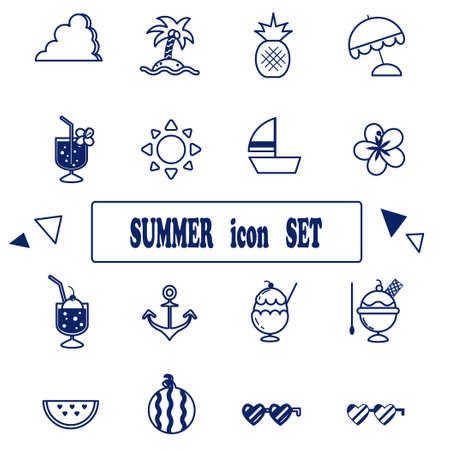 Summer icon illustration set  イラスト・ベクター素材