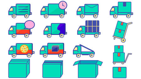 Illustration set of delivery truck and cardboard box  イラスト・ベクター素材