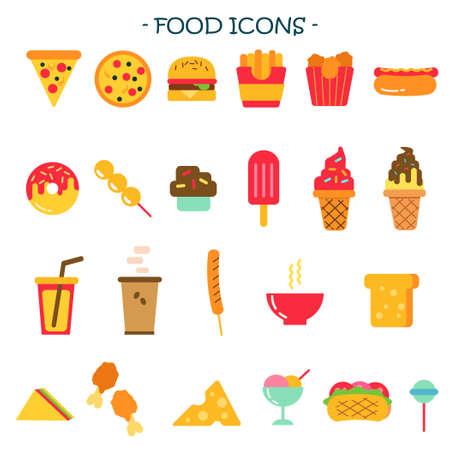 Junk Food Icon Illustration Set  イラスト・ベクター素材