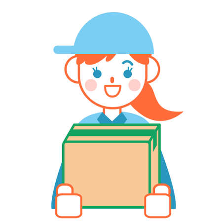 Delivery lady with cardboard box  イラスト・ベクター素材