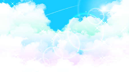 Watercolor illustration background of the sun and blue sky