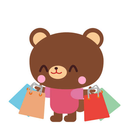 Bear illustration material that is shopping a lot  イラスト・ベクター素材