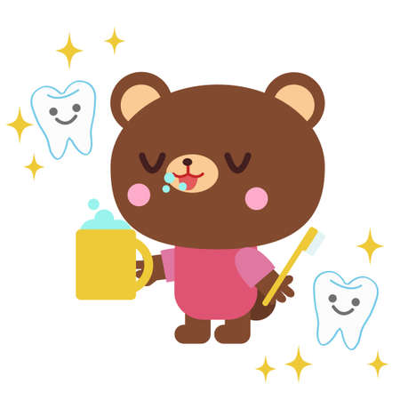 Illustration of a bear brushing a tooth