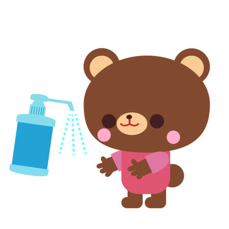 Bear illustration material for alcohol disinfection