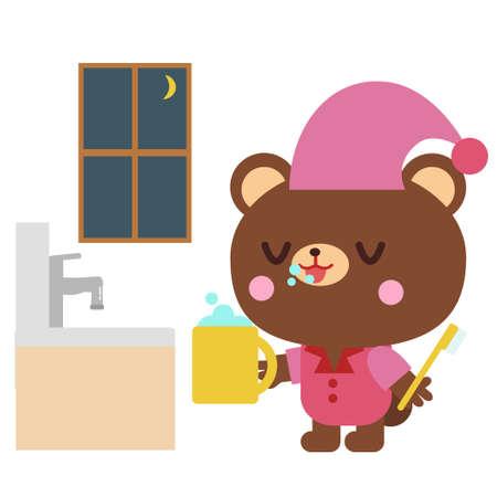 Bear illustration of brushing teeth at night