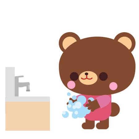 Bear illustration material for hand washing
