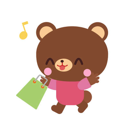 Bear illustration material that is shopping