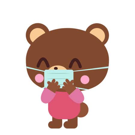 Smiling bear illustration wearing a mask