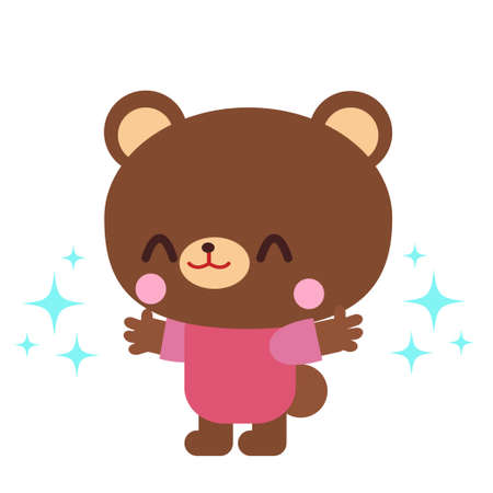 Bear illustration that raises your hand and looks happy
