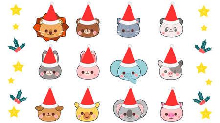 Animal Christmas Santa Hat Illustration Set