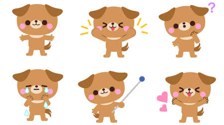Dog Facial Expressions and Gesture Illustrations Set