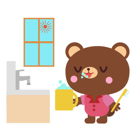 Bear illustration of brushing teeth in the morning  イラスト・ベクター素材