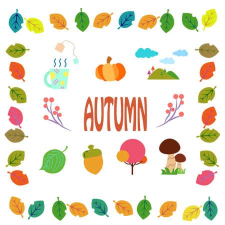 Autumn Illustration Icons  イラスト・ベクター素材