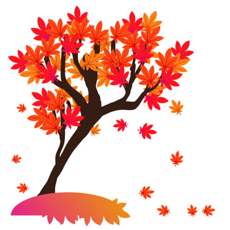 Illustration of the red autumn leaves