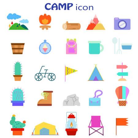 Outdoor Camp Illustration Icon Set