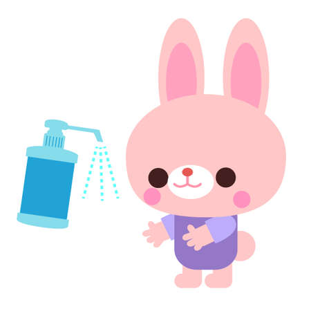 Rabbit illustration material for alcohol disinfection