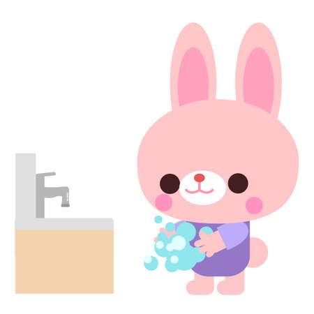 Rabbit illustration material for hand washing