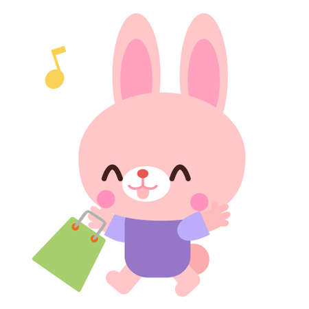 Rabbit illustration material shopping